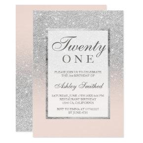 Faux silver glitter elegant blush 21st birthday invitation
