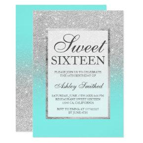 Faux silver glitter elegant teal Sweet 16 Invitations