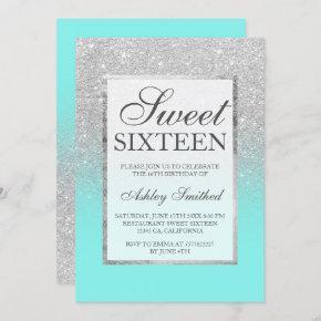 Faux silver glitter elegant teal Sweet 16 Invitation
