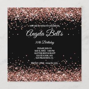Faux Sparkly Rose Gold Glitter Black Invitation