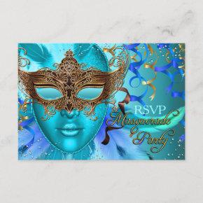 Feather Teal Gold Mask Masquerade Party RSVP