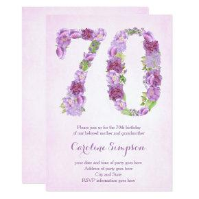 Female 70th Birthday Lavender Invites