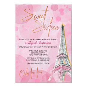 Feminine Pink and Gold Eiffel Tower Paris Sweet 16 Invitation