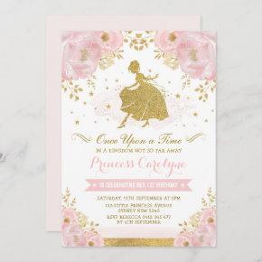 Feminine Princess Cinderella Pink Gold Birthday Invitation