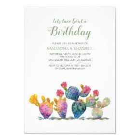 Festive Cactus Fiesta Twins Birthday Invitation