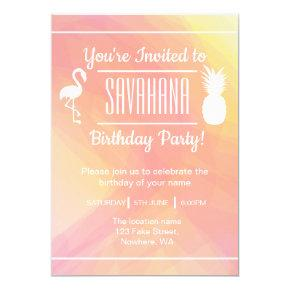 Festive Flamingo & Pineapple Birthday Invitation