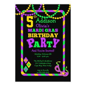 Festive Mardi Gras Beads and Stripes 5th Birthday Invitations