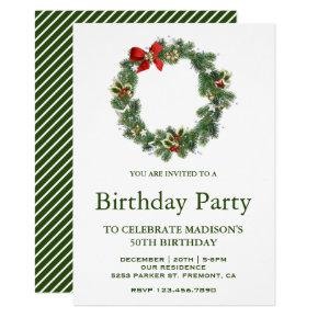 Festive Winter Holiday Christmas Wreath Birthday Invitations