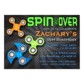 Fidget Spinner Boys Birthday Invitation