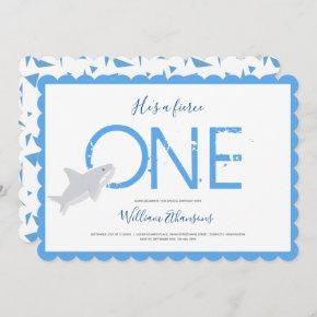 Fierce One Blue White Shark Animal First Birthday Invitation