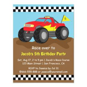 Fiery Red Monster Truck Birthday Party Invitations
