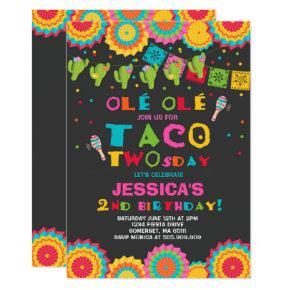 Fiesta 2nd Birthday Invitation Taco Twosday Party