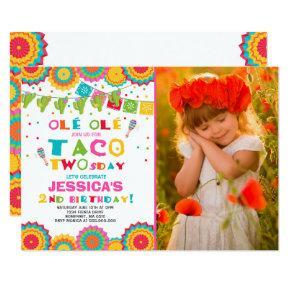 Fiesta 2nd Birthday Invitations Taco Twosday Party