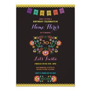 Fiesta Birthday Floral Mexico 30th Invitations