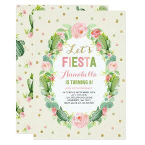 Fiesta Birthday Invitation Cactus Birthday Invite