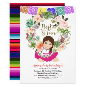 Fiesta birthday invitation  girl