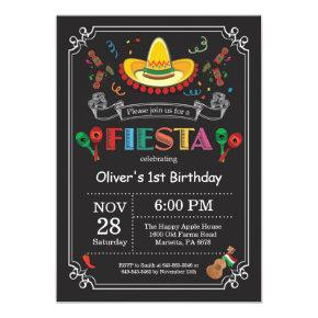 Fiesta Birthday Invitations Chalkboard Mexican