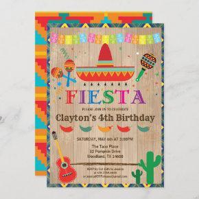 Fiesta birthday invitation for boy or kid. Rustic