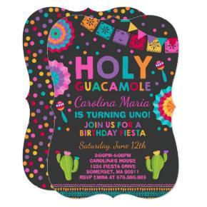 Fiesta Birthday Invitation Holy Guacamole Party