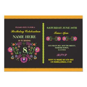 Fiesta Birthday Mexican Floral Pattern Invite