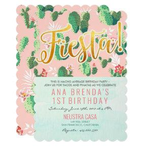 Fiesta Cactus 1st Birthday Invitation