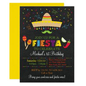 Fiesta Chalkboard Birthday Invitation