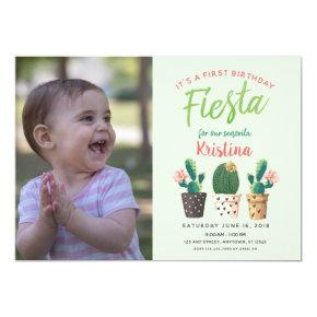 Fiesta First Birthday Cactus Invitations
