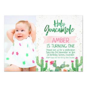 Fiesta Holy Guacamole Photo Birthday Invitation