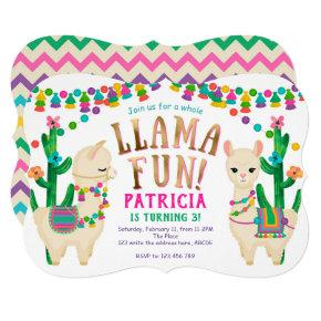 Fiesta Llama Fun birthday party Invitation