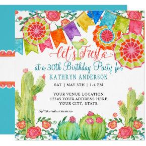 Fiesta Margarita Cactus 30th Birthday Party Banner Invitation