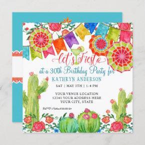 Fiesta Margarita Cactus 30th Birthday Party Banner Invitation
