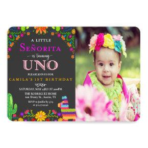 Fiesta Senorita First Birthday Photo Invitation