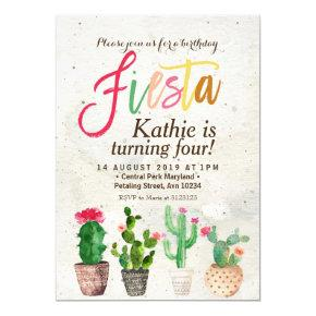 Fiesta Succulent Birthday Invitation