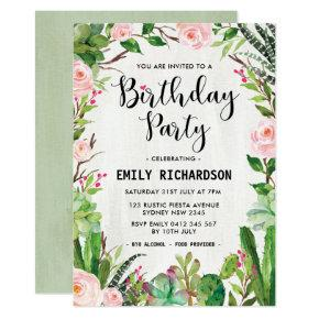 Mexican flowers birthday invitations candied clouds fiesta succulent floral birthday party invite filmwisefo