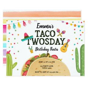 Fiesta Taco Twosday Cactus Girl 2nd Birthday Party Invitation