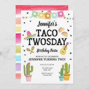 Fiesta Taco Twosday Cactus Girl 2nd Birthday Party Invitation