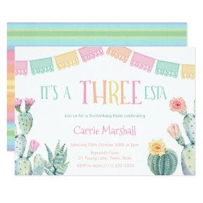 Fiesta Three-Esta 3rd Birthday Party For Girl Invitation