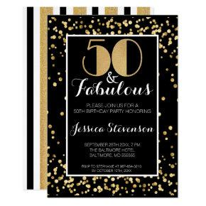 Fifty Fabulous Gold 50th Birthday Party Invitation