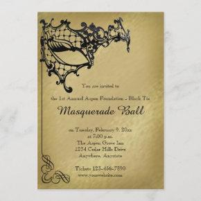 Filigree Masquerade Mardi Gras Ball Invitation