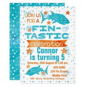 Fin-tastic Whale Shark Birthday Invitations