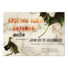 Fire Breathing Dragon Serpent Birthday Party Invitation