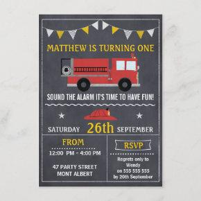 Fire Engine Chalkboard Birthday Party Invitation
