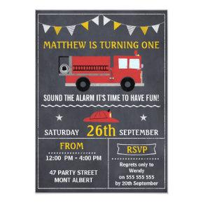 Fire Engine Chalkboard Birthday Party Invitations