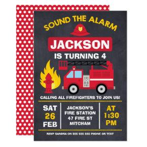 Fire Engine Or Fire Truck Birthday Invitations