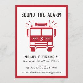 Fire Engine or Fire Truck Birthday Party Invite