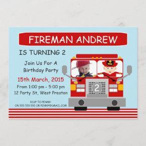 Fire Engine Photo Birthday Invitation