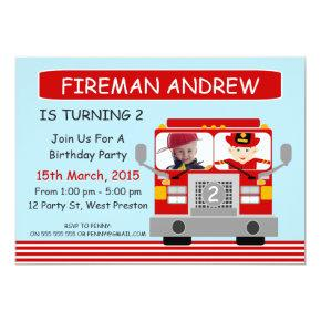 Fire Engine Photo Birthday Invitation