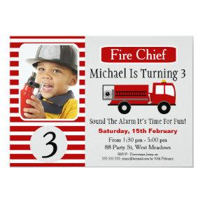 Fire Engine Photo Birthday Party Invitations