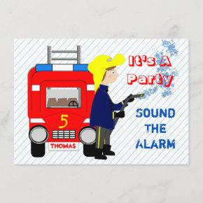 Fire-fighter Fire Engine Themed Kids Party Invitation