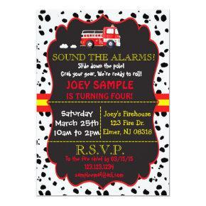 Fire Truck Birthday Invitation
